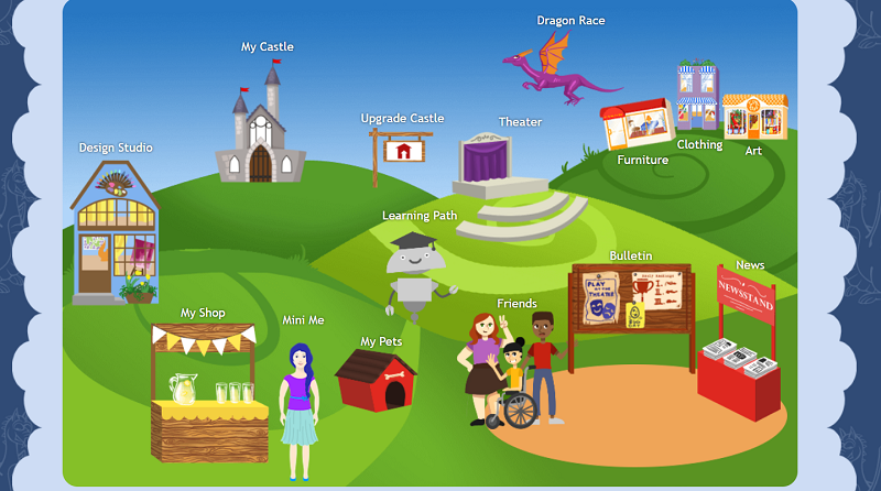 Online Learning For Kids Virtual World Map