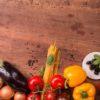 Beautiful veggies on wooden table